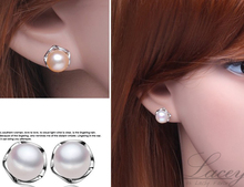 LACEY natural pearl earrings jewelry earrings,925 silver pearl stud earrings for women,8-9 mm button pearl for mother present