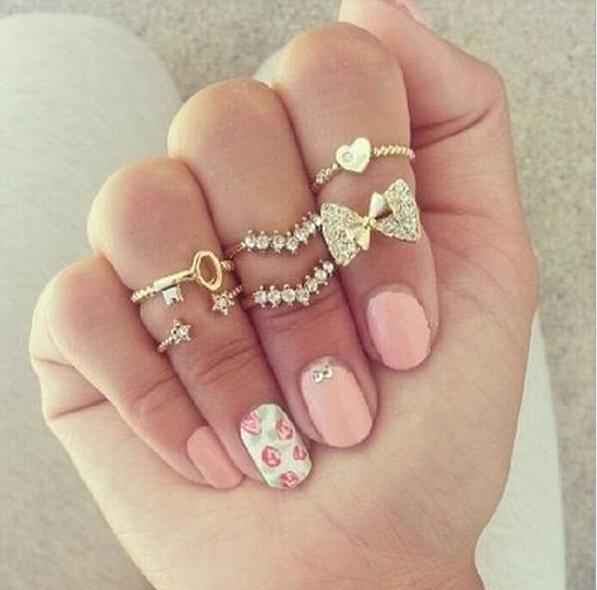 Fashion 6pcs/set Finger Rings Set Heart Bowknot Mid Knuckle New Gold Silver Rhinestone Ring For Female Women fine Jewelry