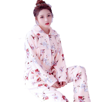 Autumn And Winter Flannel Women Pyjama Set Long Sleeve Lovely Cartoon Tops Pants Two Piece Set