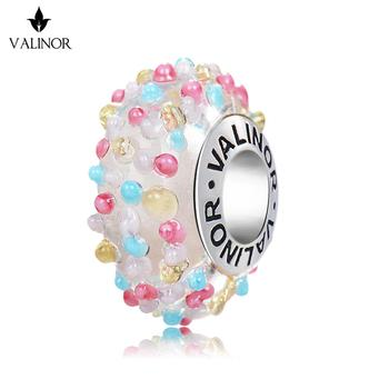 Video! Sweet Candy Glass Beads Charms 925 Sterling Silver Fit Bracelets & Bangles For Women Jewelry VDLL017