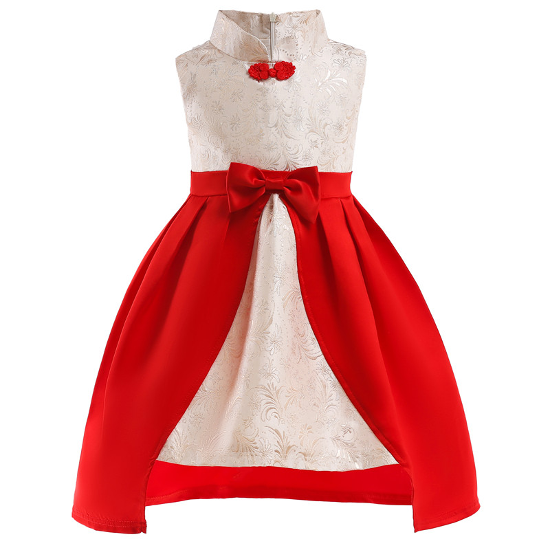 Baby girl clothes Vestido Girls dress Chinese design Big bow princess Kids Party Dress for Girls Formal Christmas clothing стоимость