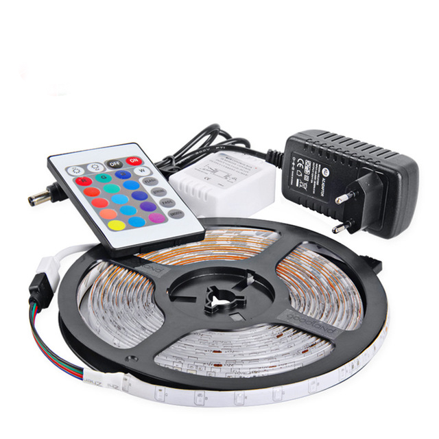 RGB LED Strip Light 2835 SMD 5M Flexible Light LED Tape IR Remote Controller 12V 2A Power Adapter Home Decoration Lamps