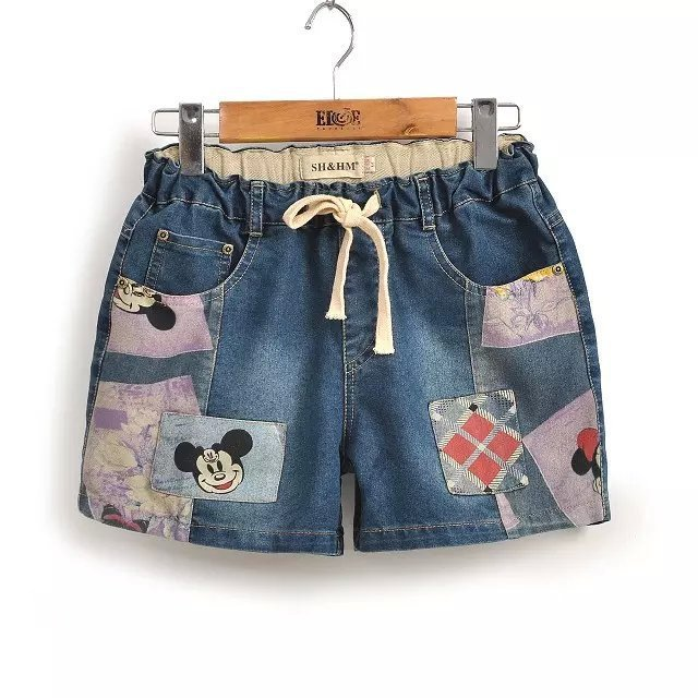 Cartoon Patches Printed Denim Shorts Hot  Elastic Waist Loose Slacks Female Summer Lacing Pocket Short Jeans Bermudas