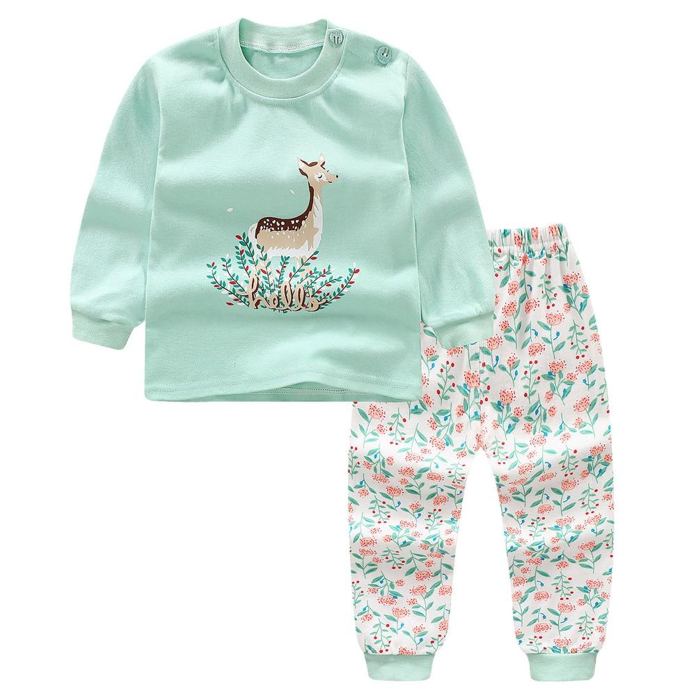 2018 Jesień Dziewczynek ubrania z długim rękawem T Shirt + spodnie 2szt Cartoon Cat Casual Garnitur Noworodka Odzież Baby Girl Chłopięce