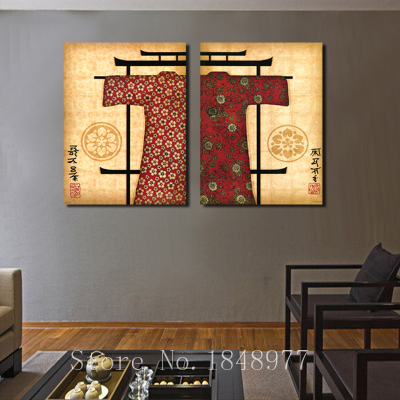 2 Pieces Classical Japanese Painting Wall Decor Prints Pictures