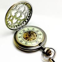 20pcs Lot Wholesale DHL Free Shipping High Quality Hollowed Mechanical Pocket Watch Retro Real Engraved Flip