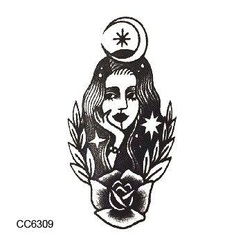old school style fleur gril porter lune couronne vintage temporaire