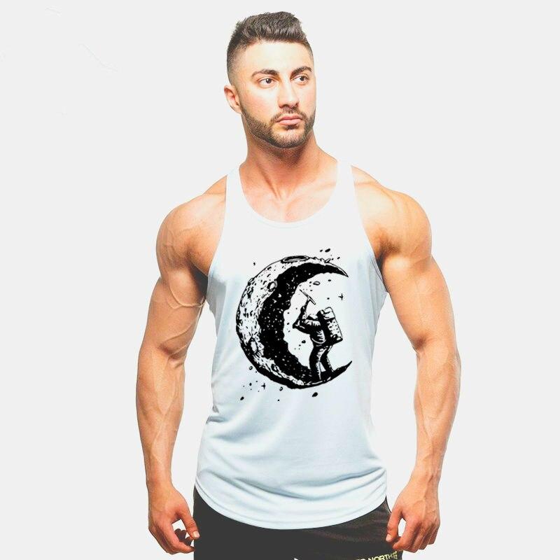 digging the moon print   Tank     Top   Men Sleeveless Shirt Bodybuilding Stringer Fitness Men's Cotton Singlets Muscle Workout Vest
