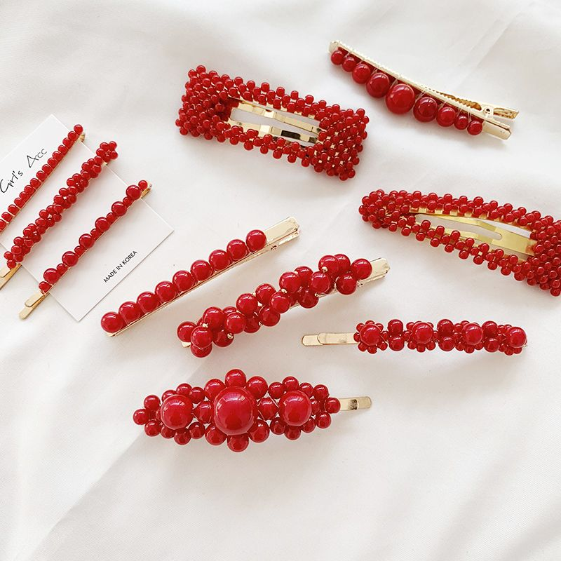 1 Pc Fashion Red Pearl Hair Clip For Women Elegant Korean Design Snap Barrette Stick Hairpin Hair Styling Accessories