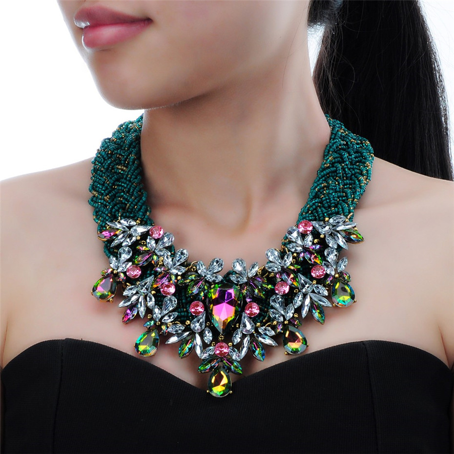 Fashion Handmade Jewelry Chain Resin Beads Statement Chunky Choker Bib Collier