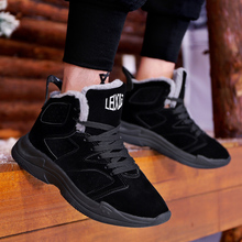 Купить с кэшбэком Winter Shoes casual Boot Men Snow Boots Warm Fur&Plush Boots Men Lace Up High Top New Fashion Men Shoes Sneakers Big Size 39 45