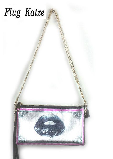 New Arrivel female purses and handbags Genuine leather Clutch  bags  lips printed mini Messenger Bag