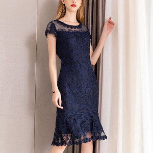 Image 4 - 2019 summer new women elegant Dress short Petal sleeve O neck bag hip sheath Embroidery lace Dress vestidos de verano