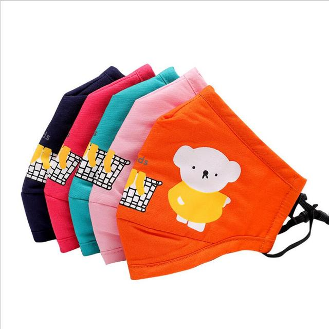 3-10year Cartoon bear Kids Cotton Masks anti-dust PM2.5 mouth mask Activated carbon filter mask Windproof Mouth-muffle Face mask