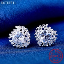 100% Sterling Silver Women Charm Earrings 925 Fashion Zircon Heart Stud Luxury Jewelry