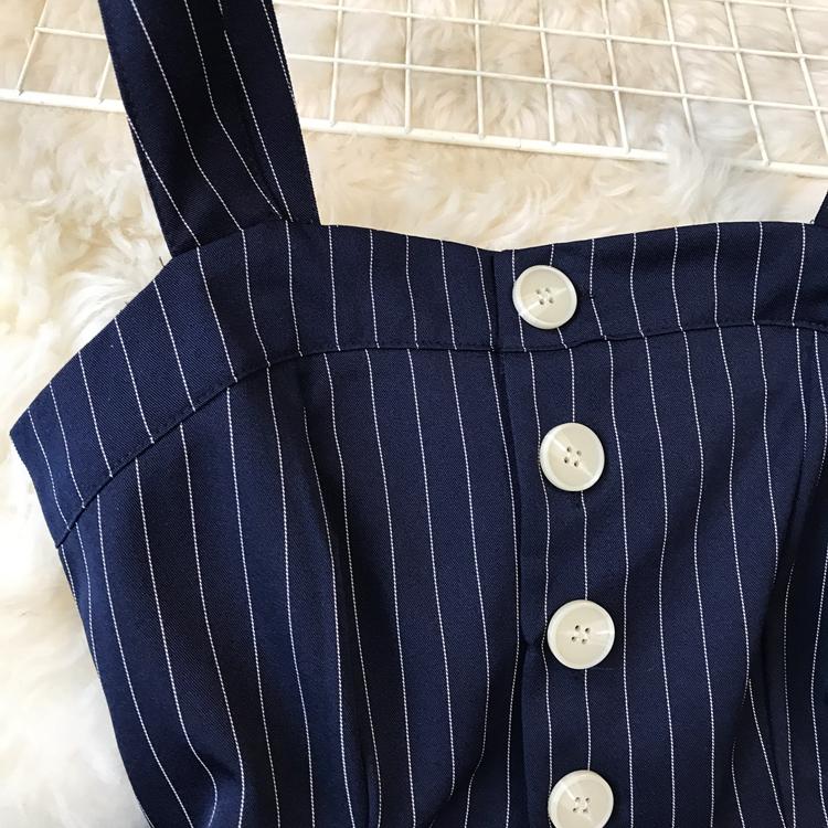 2019 Spring and Summer Korean New Stripe High Waist Open-back Jumpsuit Women Sleeveless Broad-legged Overalls G794 41