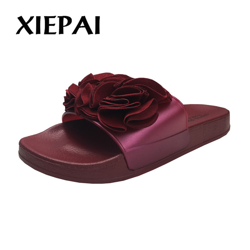 XIEPAI Flower Decoration Women Fashion Slippers 4 Colors Lovely Slides Womens Summer Sandals Beach Home Shoes Size 36-41