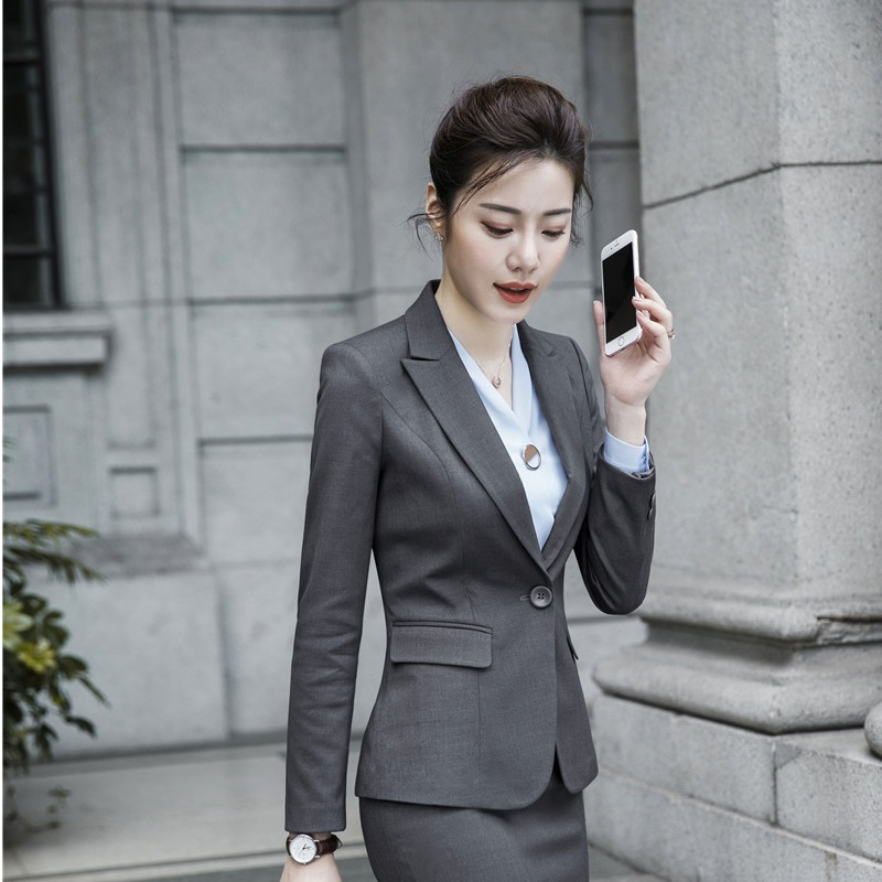 High Quality Fabric Ladies Fashion Grey Blazers and Jackets Coat Long Sleeve Women Business Work Wear Uniform Styles Tops
