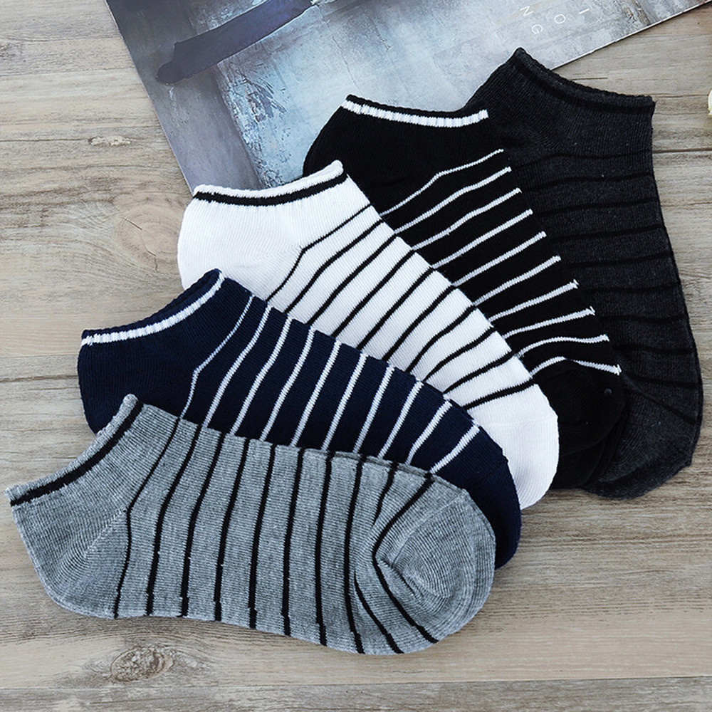 CHAMSGEND Striped Hot Socks Summer Men And Women Can Wear Striped Shallow Mouth Cotton Socks Breathable Casual Comfort Socks
