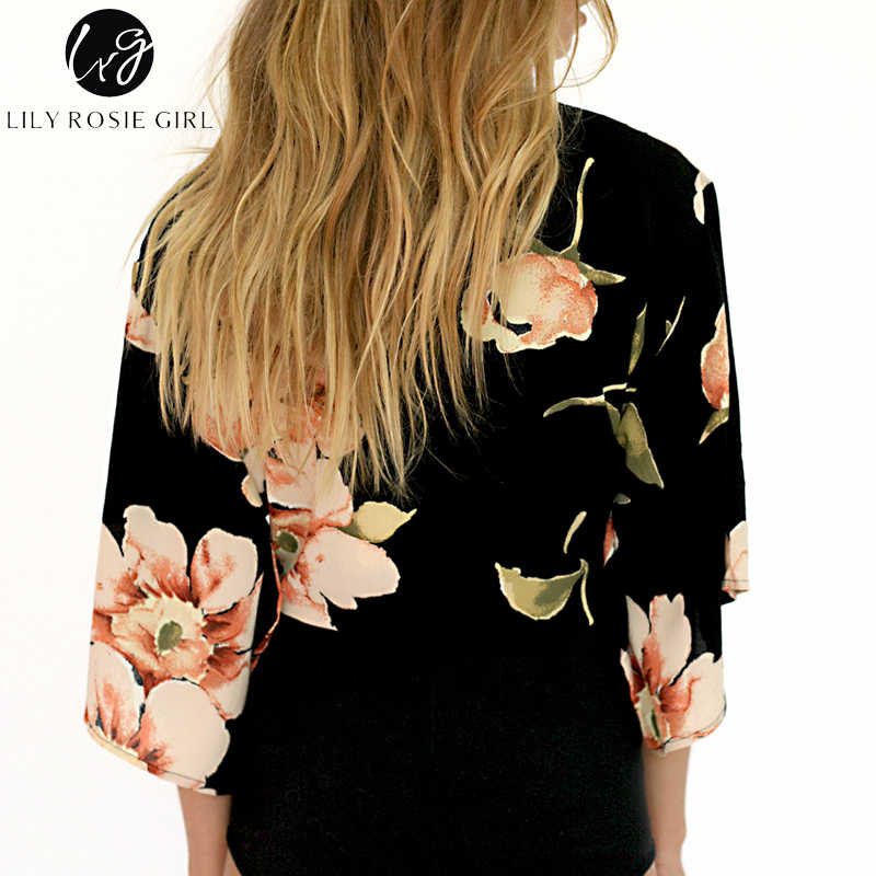 ... Lily Rosie Girl Deep V Neck Boho Floral Print Short Blouse Women Autumn  Winter Bow Crop ... ff376519ec4