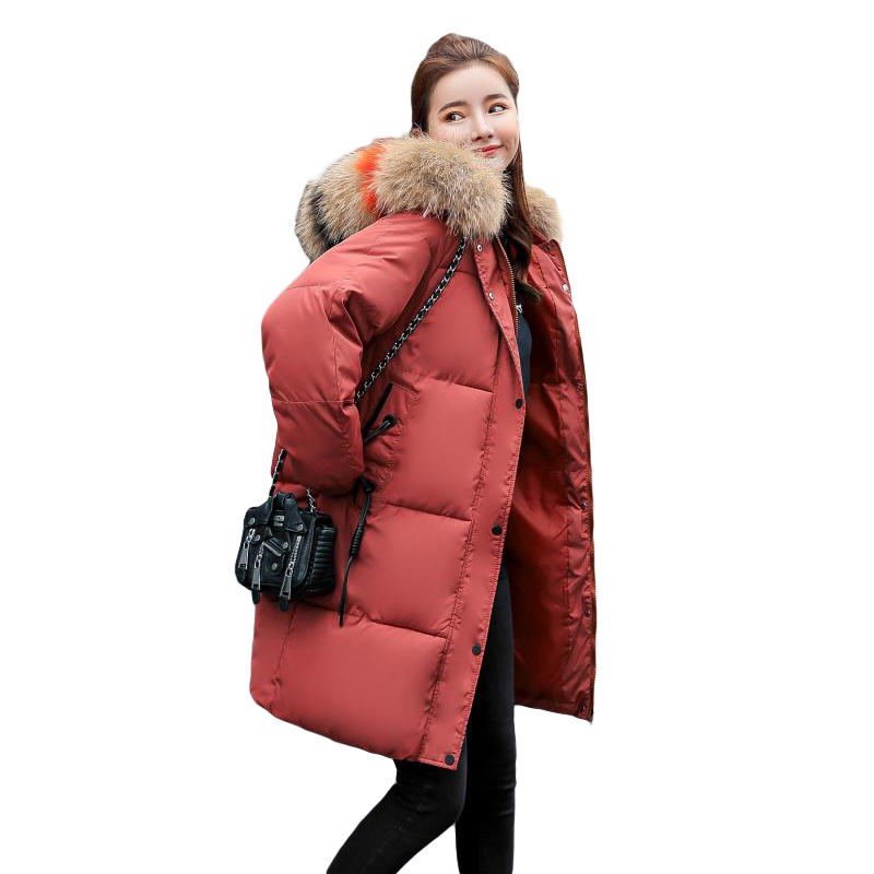 Coat Loose Warm gray Big Hooded Parkas Mom's Wear Large Jacket Thicken Snow caramel Collar Winter black Fashion Women Red white Female Hair Colour Overcoat aFqqwY