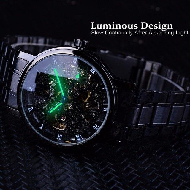Winner Transparent Steampunk Montre Homme Black Retro Casual Mens Watches Top Brand Luxury Full Steel Skeleton Mechanical Watch 5