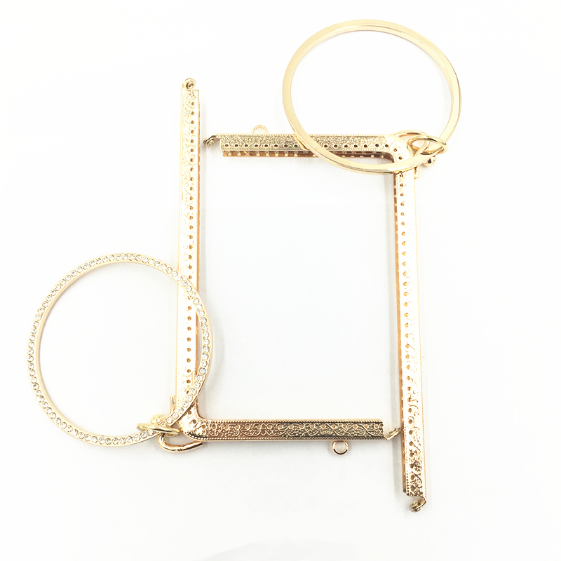 Gold Tone Metal Frame L Shape Fashion Purse Delicate Flower Pattern Sewing Hole DIY With Key Ring Round Cercle Casual Lock185MM
