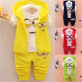 Newest Spring Autumn  Children Suits Baby Girls Boys Minion Suits Infant/Newborn Clothes Sets Kids Vest+T Shirt+Pants 3 Pcs/Sets