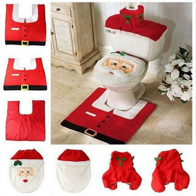 Hot 1Lot Fancy Santa Toilet Seat Cover and Rug Bathroom Set Contour Rug Christmas Decorations For Natal Navidad Decoracion