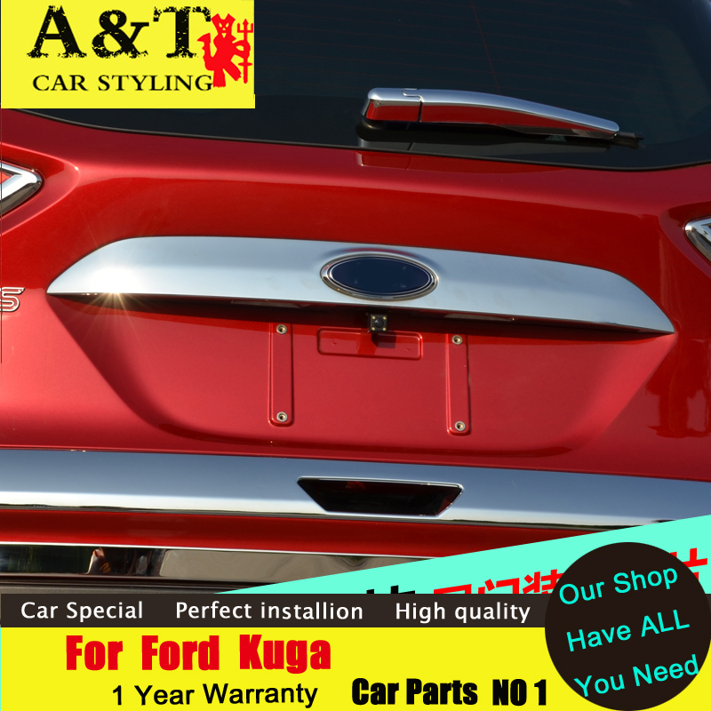 JGRT car styling For Ford Kuga Escape rear Trunk chrome trim 2013-2015 For Kuga Trunk stickers trunk decorative trim strip jgrt chrome rear window wiper cover trim for 2013 2014 2015 frod escape kuga new high quality chrome stickers trim car styling c