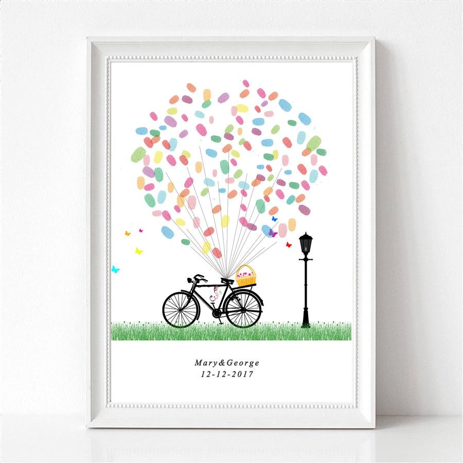 Personalized Thumbprint Tree Wedding Guest Book Alternative: Wedding Balloon Personalized Fingerprint Guest Book Tree