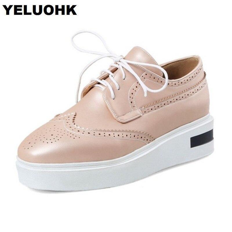 cuir dentelle jusqu la plate forme casual chaussures plates femmes rondes baskets solides AU2KsInh