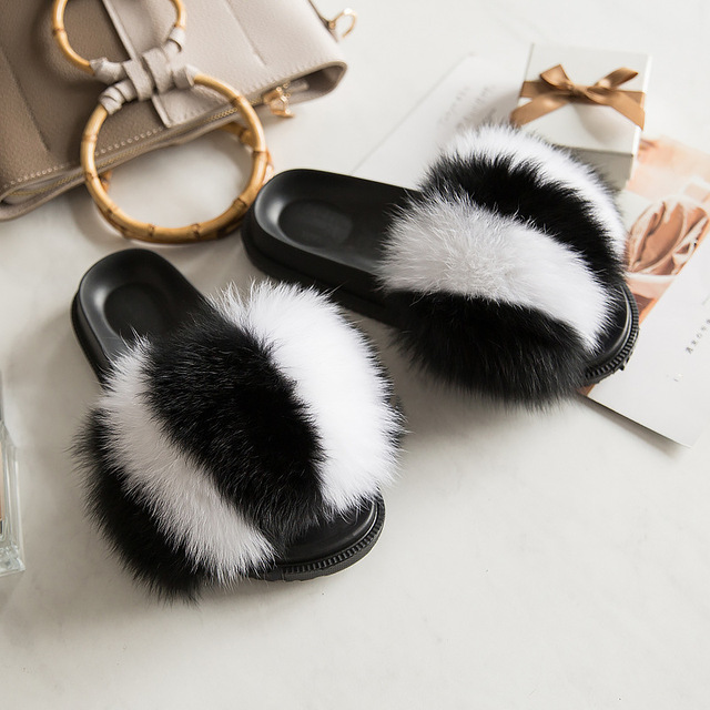 2019 Fox Fur Slide for Women Cut Slippers Fluffy Sliders Plush Furry Summer Flats Sweet Ladies Shoes Big Size 36-45,See as pic,6