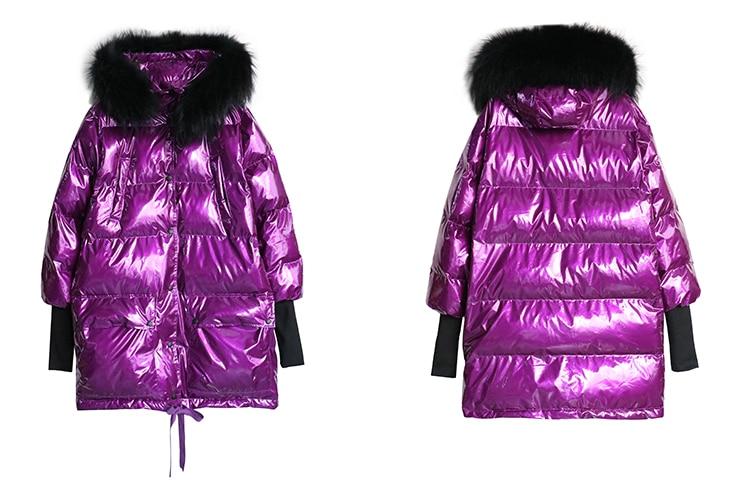 Plus Púrpura Tamaño Chaqueta Metal Capucha Con Plata Purple Mujer 2019 Abrigos silver Abajo Collar Real Cálido Brillante De Suelto Piel Invierno 6nvnX7wZq0