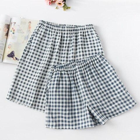 New Summer Couple Plaid Shorts Cotton Gauze Thin Pajama Pants Lounge Sleep Wear for Women Bottoms Night Pants Islamabad