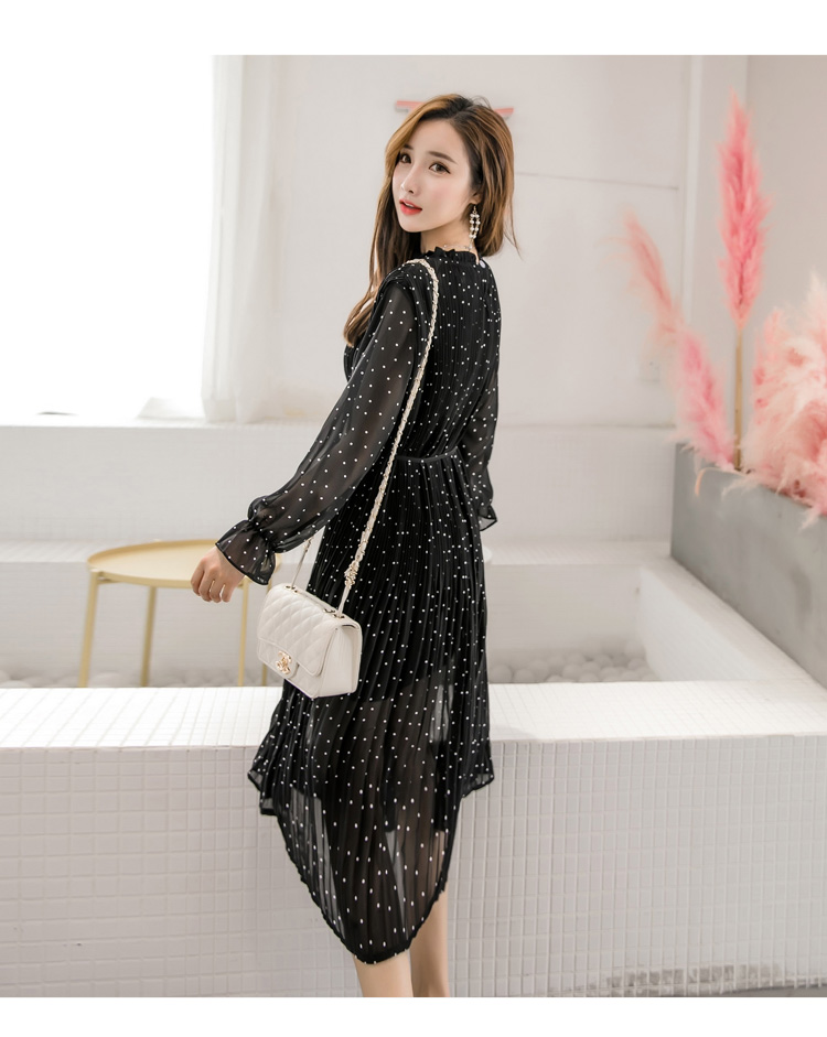 Women chiffon dress 19 spring autumn female elegant vintage long sleeve dot pleated dress office lady casual loose dresses 8
