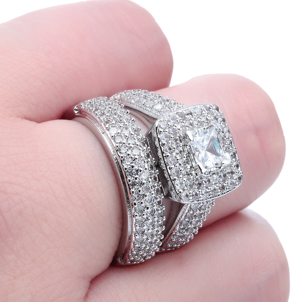 Fashion Women Engagement Ring Set Austrian Crystal White gold color ...