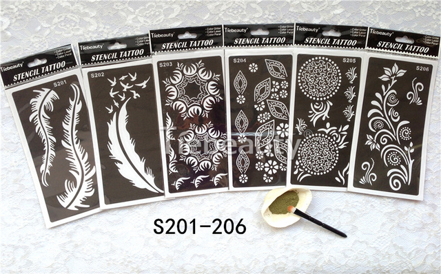 6pcs/lot Tattoo Templates Hands/body Arm Henna Tattoo Stencil For Airbrushing Professional Mehndi Body Painting Kit Supplies