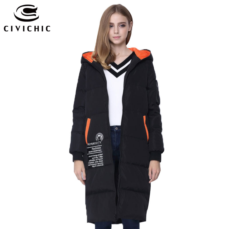 CIVICHIC Hot Sale Woman Winter Hit Color Down Jacket Mid Long Thicken Hooded Pompon Coat Casual Patch Warm Eiderdown Parka DC580