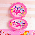 10 PCS / Set New Kid Party My Cute Little Poni Cartoon Theme Paper Plate Cake Dishes Birthday Favors Decoration Round Plate