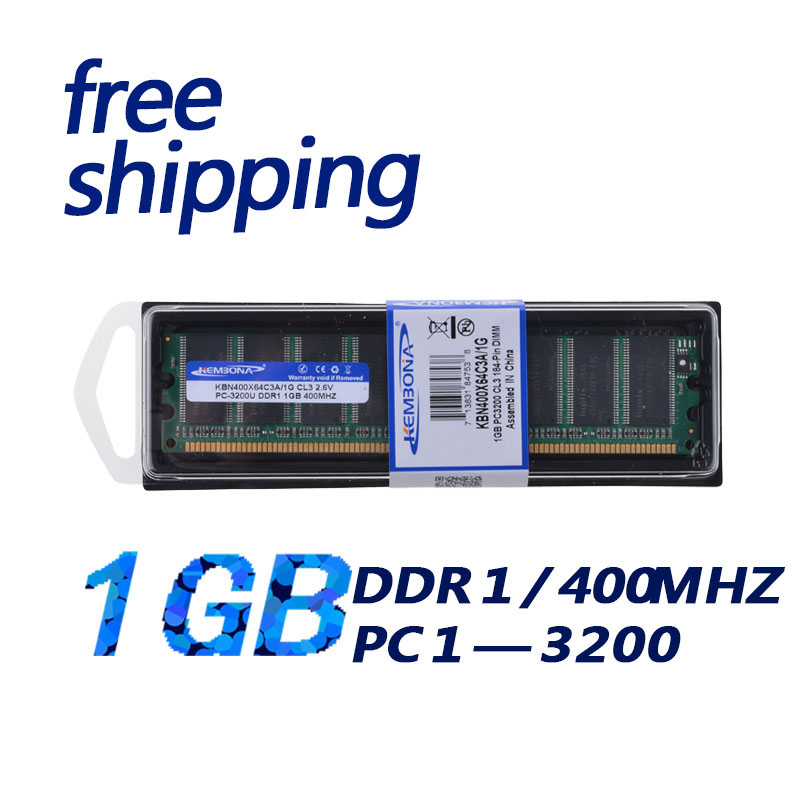 все цены на KEMBONA New desktop RAM memory PC3200 DDR1 1GB 400MHZ 1GB +Free shipping онлайн