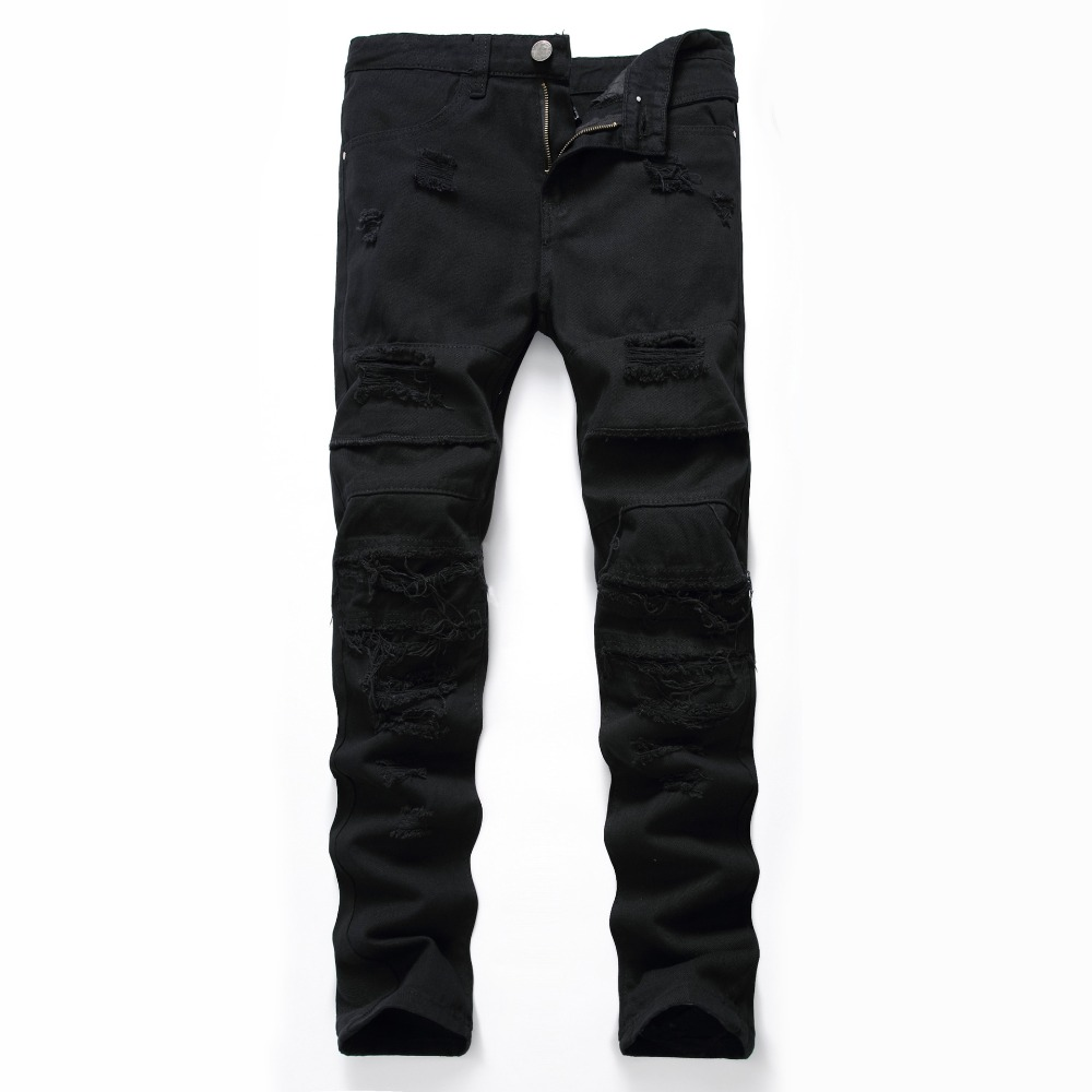 Mens Biker Black Knee Ripped Skinny Jeans Slim Fit Autumn Winter Male Denim Pants Plus Size 38 40 42