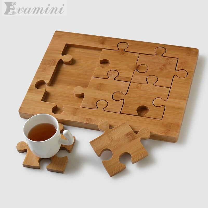 1 + 6pcs 뜨거운 판매 크리 에이 티브 퍼즐 컵 받침 쿵후 차 세트 천연 나무 대나무 차 트레이 크기 35cm * 25.7cm * 2cm 모델에주의를 기울이십시오-에서저장 상자부터 홈 & 가든 의  그룹 1