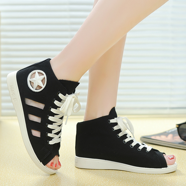 97f3b8c112 Sexy peep toe women sneakers fashion summer style ladies sport shoes high  top canvas sneakers solid color girl school shoes 2015