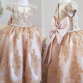 New Cute Girls Dresses Champagne Lace Pearls with Big Bow Long Baby Girls Birthday Party Dress Pageant Gown for Ceremony