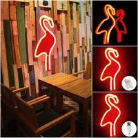 Creative Flamingo Wall Hanging Lamp Bar Party Club Decor Neon Sign Design Romantic Dim Mood Lamp Battery Operated