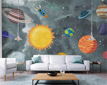 beibehang papel de parede Customized modern hand-painted space universe childrens room silky background wall paper papier peint