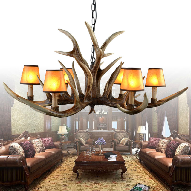 2017 New 6/10 Heads American Retro Pendant Lamp Europe Country Fixture Resin Deer Horn Antler Lampshade Decoration, E14 110-220V