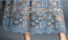 فستان قصير أنيق من الدانتيل الأزرق الراقي