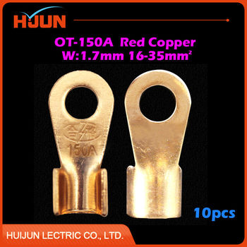 10pcs/lot OT-150A 10.2mm Dia Red Copper Circular Splice Crimp Terminal Wire Naked Connector for 16-35 Square Cable Free Shipping image